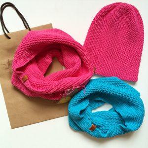 Яркий хлопковый комплект (шапка/снуд) на весну свяжу на заказ - OlchikKnits