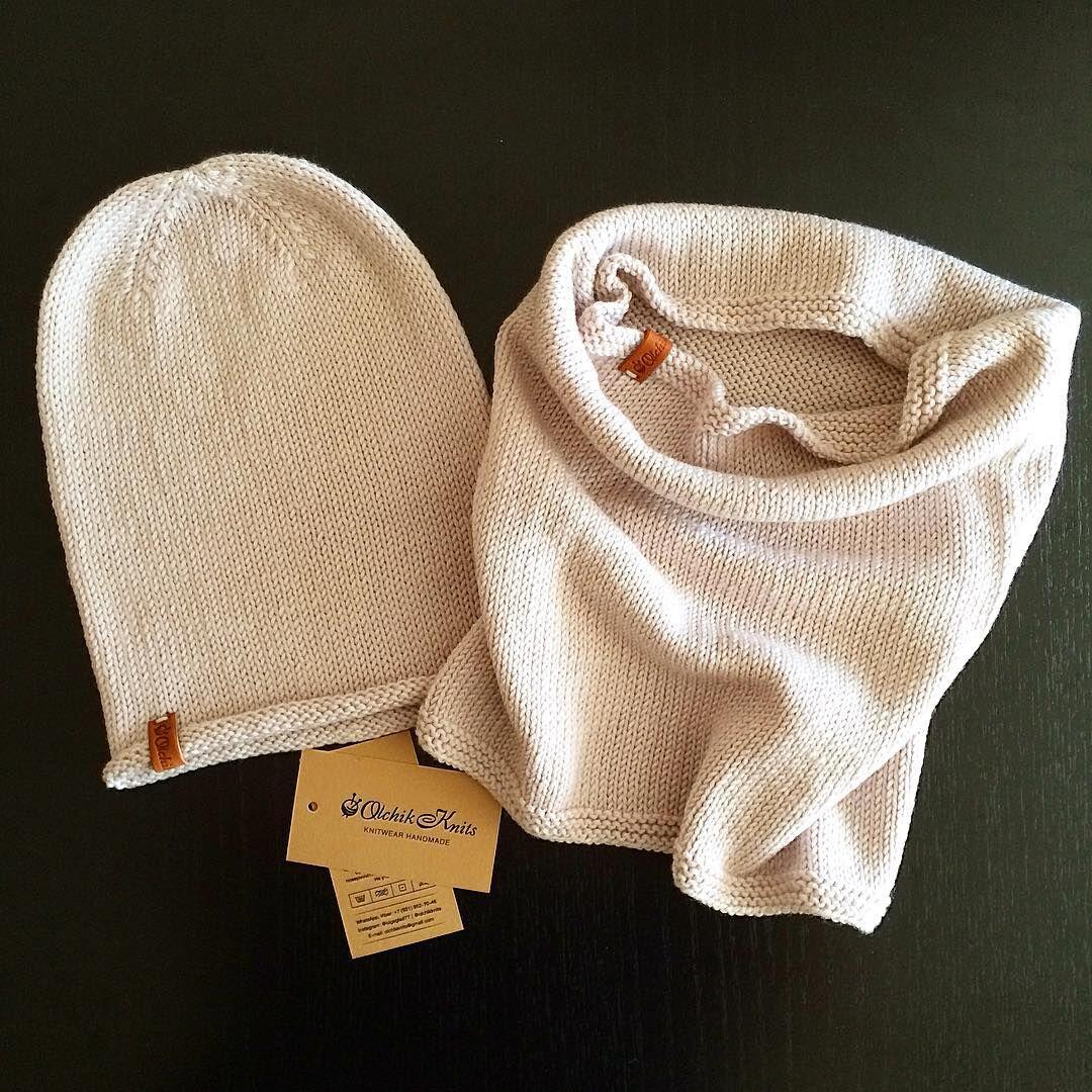 Вязаные вручную вещи: весенние шапочка и снуд